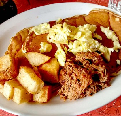 Pull Pork Pancakes at Lucy's Eastside Diner | tryhiddengems.com