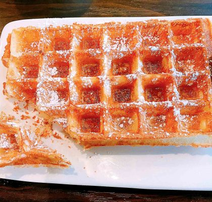 Waffle with Maple Syrup at Le Petit Belge | tryhiddengems.com