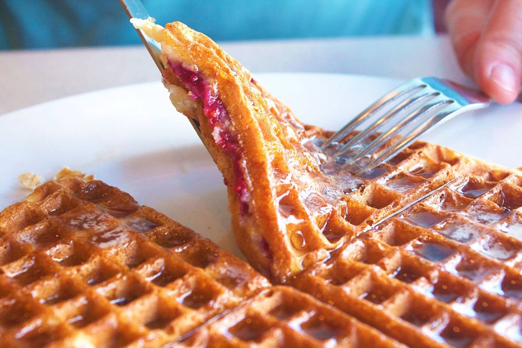Hot Raspberry Waffle at The Waffle House | tryhiddengems.com