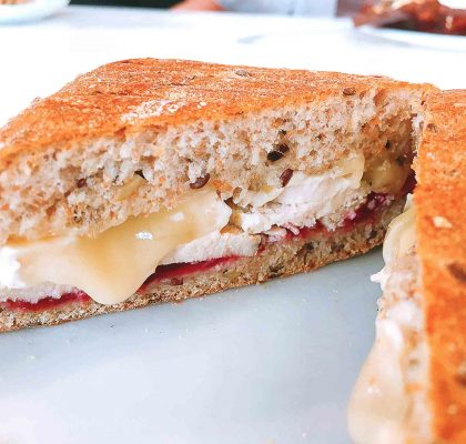 Chicken Cranberry Brie Panini at The Rustic Rooster | tryhiddengems.com