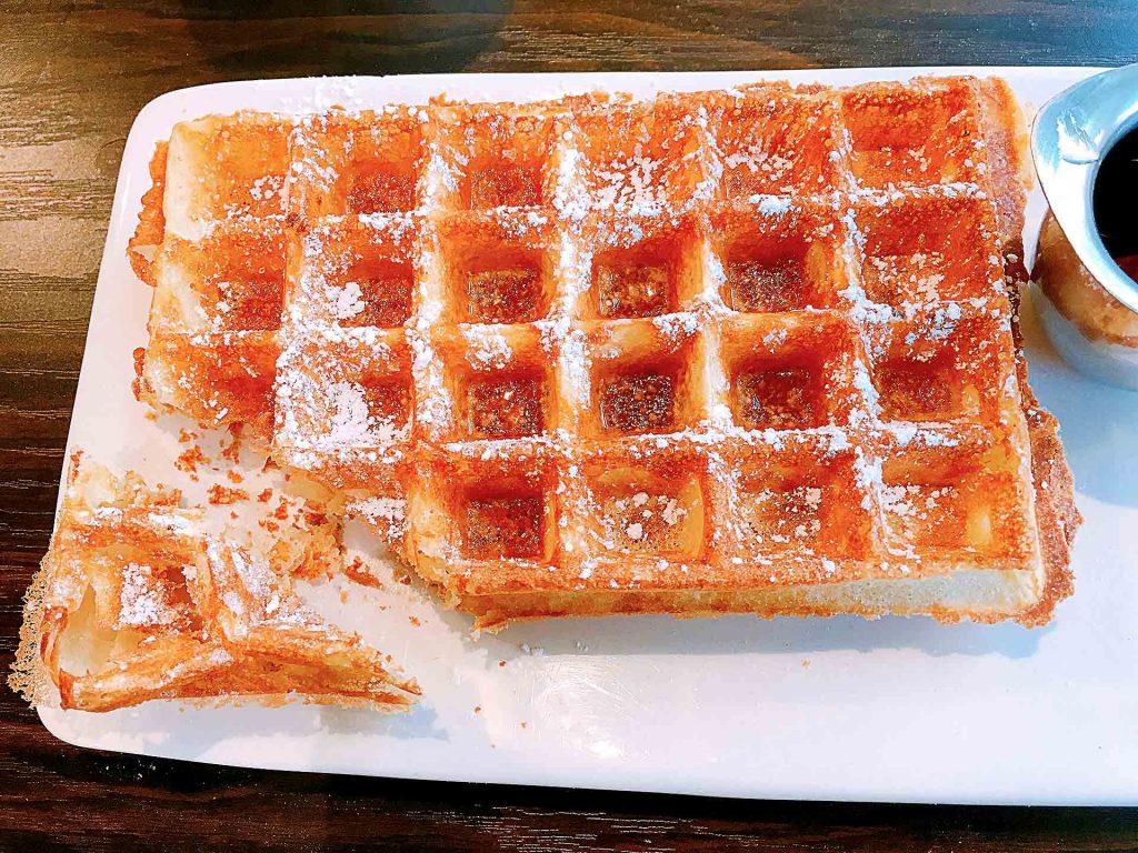 Brussels Waffle with Maple Syrup at Le Petit Belge | tryhiddengems.com