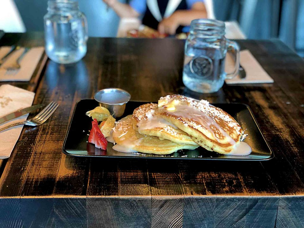 Macadamia Nut Banana Pancakes at BLVD Bistro | tryhiddengems.com