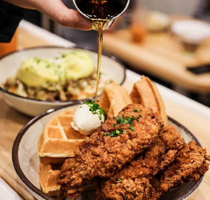Chicken & Waffle at The Gray Olive Cafeteria | Hidden Gems Vancouver