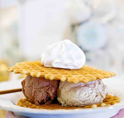 Ganache and Bananes Foster Ice Cream Waffle Sandwich at La Glace | Hidden Gems Vancouver