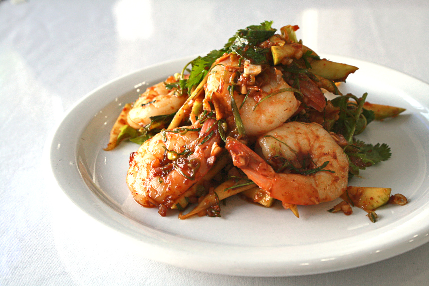 Spicy Shrimp Salad at Unchai Restaurant | Hidden Gems Vancouver