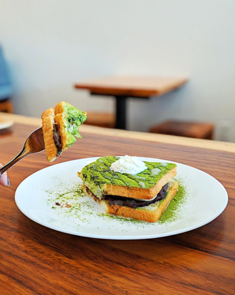 Matcha Red Bean Dessert Toast at Something Sweet | Hidden Gems Vancouver