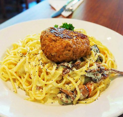 Spaghetti Carbonara with Hamburger Steak at Café de L'Orangerie | Hidden Gems Vancouver