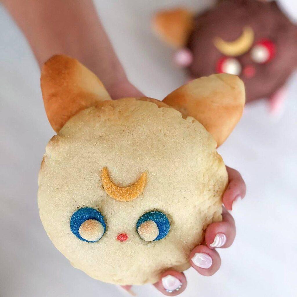 Sailor Moon Luna Mango Yuzu Mochi Bun at Baker & Table Cafe | Hidden Gems Vancouver
