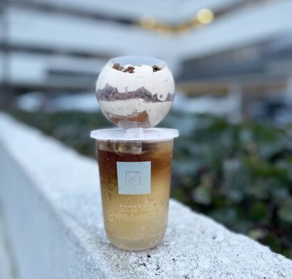 Brown Sugar Hojicha Mochi Cake with Cold Brew Soda Tea at Minus Cake Boutique | Hidden Gems Vancouver