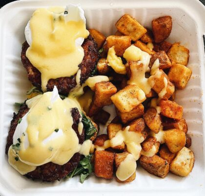 Crab Cake Benny at The Gray Olive Cafeteria | Hidden Gems Vancouver