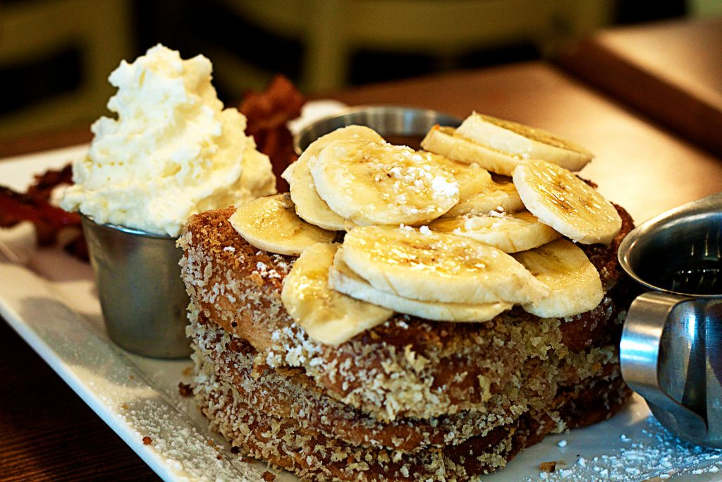 French Toast with Bananas at Yolks | tryhiddengems.com